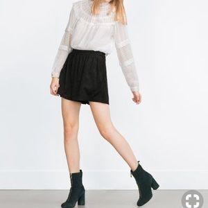 Zara Black Suede Shorts
